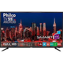 "Smart TV LED 55"" Philco PH55A17DSGWA Full HD com Conversor Digital 3 HDMI 2 USB Wi-Fi"