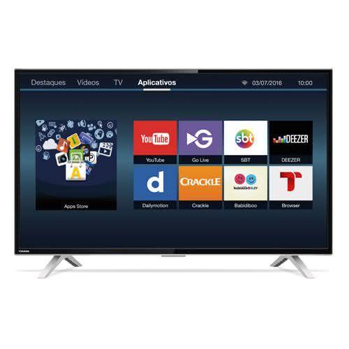 "Smart TV LED 40"" Toshiba 40L2600 Full HD com Conversor Digital 3 HDMI 2 USB Wi-Fi 60Hz - Preta"