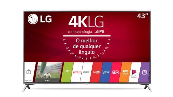 "Smart TV LED 43"" LG 43UJ6525 Ultra HD 4K com Upscalling, WebOS 3.5 Painel IPS, HDR e Magic Mobile Connection"
