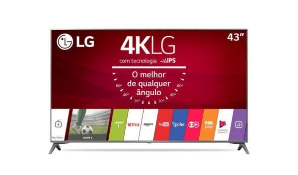 "Smart TV LED 43"" Ultra HD 4K LG 43UJ6565 com Sistema WebOS 3.5, Painel IPS, HDR, Local Dimming, Magic Mobile Connection"