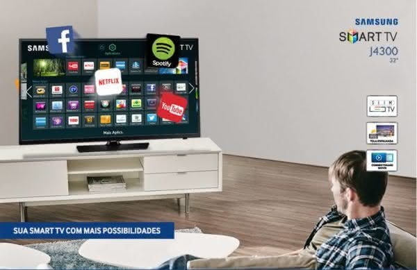 "Smart TV LED 32"" HD Samsung UN32J4300AGXZD com Connect Share Movie, Screen Mirroring, Wi-Fi,"