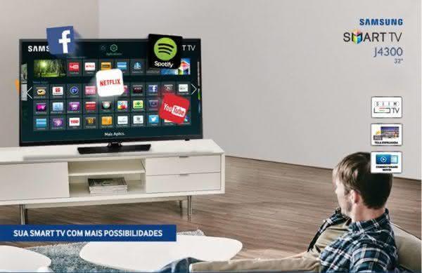 "Smart TV LED 32"" HD Samsung UN32J4300AGXZD com Connect Share Movie, Screen Mirroring, Wi-Fi, Entradas HDMI e Entrada USB"