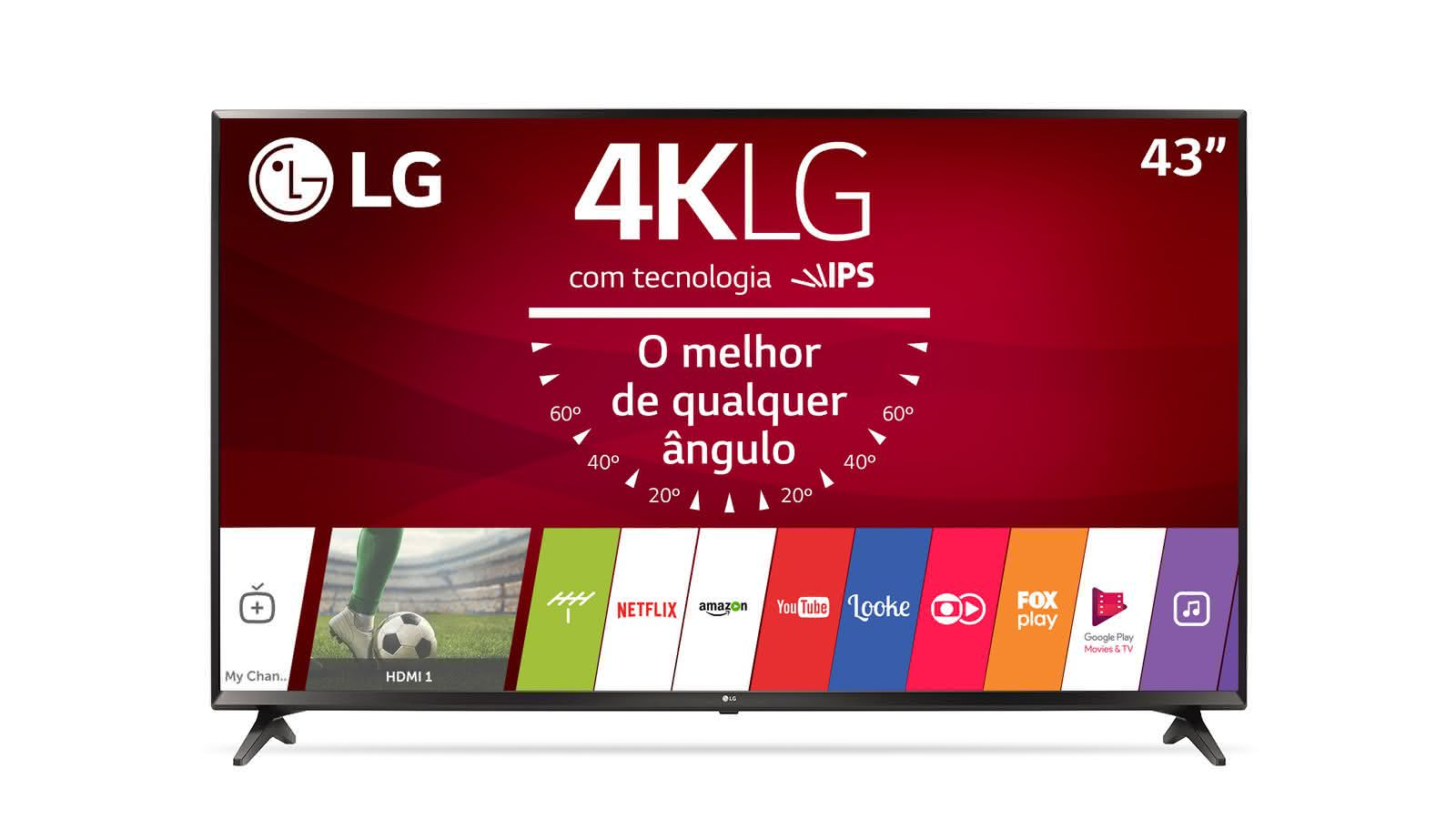 smart tv led 43 ultra hd 4k lg 43uj6300 com sistema webos 3 5 wi fi painel ips hdr quick. Black Bedroom Furniture Sets. Home Design Ideas