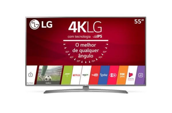 "Smart TV LED 55"" Ultra HD 4K LG 55UJ6585 com Sistema WebOS 3.5, Painel IPS, HDR, Local Dimming, Magic Mobile Connection"