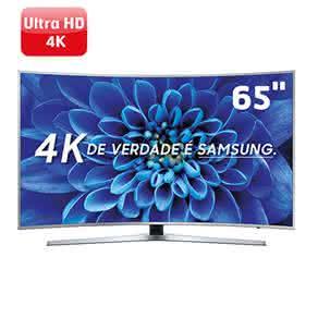 """Smart TV LED 65"""" UHD Premium 4K Curva Samsung 65KU6500 com HDR Premium, One Control, Conteúdo Smart 4K, Sistema Tizen, Espelhamento de Tela, HDMI, USB"""