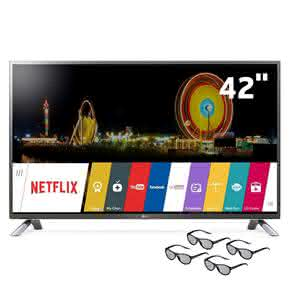 "Smart TV Cinema 3D LED 42"" Full HD LG 42LF6500 com Sistema webOS, Wi-Fi, Painel IPS, Entradas HDMI e USB, Controle Smart Magic e 4 Óculos 3D"