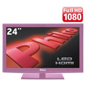 "TV 24"" LED Philco PH24MR Full HD com Conversor Digital e  ? Rosa"