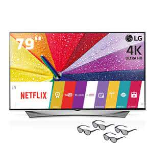 "Smart TV 3D LED 79"" Ultra HD 4K LG 79UF9500 com Sistema webOS, Nano Spectrum, , Controle Smart Magic e 4 Óculos 3D"