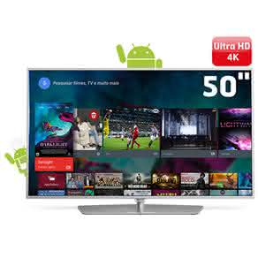 "Smart TV LED 50"" Ultra HD 4K Philips 50PUG6700/78 com Android, Dual Core, Pixel Plus Ultra HD, 3 Entradas HDMI e 3 USB"