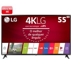 "Smart TV LED 55"" Ultra HD 4K LG 55UJ6300 com Sistema WebOS 3.5, Painel IPS, HDR, Quick Acess, Magic Mobile Connection, Music Player"