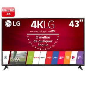 "Smart TV LED 43"" Ultra HD 4K LG 43UJ6300 com Sistema WebOS 3.5, Painel IPS, HDR, Quick Acess, Magic Mobile Connection, Music Player"