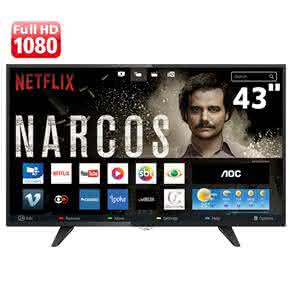 "Smart TV LED 43"" Full HD AOC LE43S5970 com Wi-Fi, Conversor Digital Integrado, App Gallery, Botão Netflix, Entradas HDMI e USB"