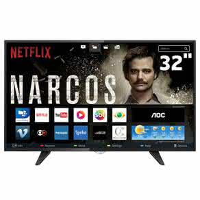 "Smart TV LED 32"" HD AOC LE32S5970 com Wi-Fi, Botão Netflix, App Gallery, Conversor Digital Integrado, Entradas HDMI e USB"