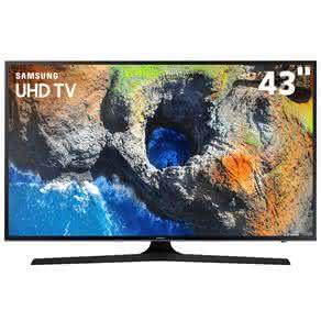 """Smart TV LED 43"""" UHD 4K Samsung 43MU6100 com HDR Premium, Plataforma Smart Tizen, Smart View, Espelhamento de Tela, Steam Link, 3 HDMI e 2 USB"""