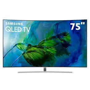 """Smart TV QLED 75"""" UHD 4K Curva Samsung 75Q8C QPicture com Pontos Quânticos, HDR1500, QStyle, Design 360, One Connect, QSmart, HDMI e USB"""