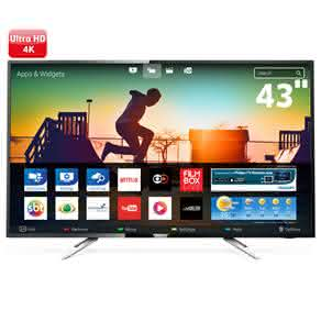 "Smart TV LED 43"" UHD 4K Philips 43PUG6102 com Micro Dimming, Pixel Plus, Incredible Surround"