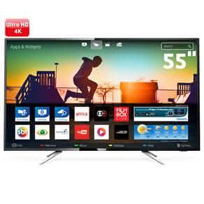 "Smart TV LED 55"" UHD 4K Philips 55PUG6102 com Micro Dimming, Pixel Plus, Incredible Surround, HDMI e USB"
