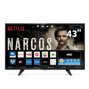 "Smart TV LED 43"" Full HD AOC LE43S5977 com Botão Netflix, App Gallery, Conversor Digital Integrado,"
