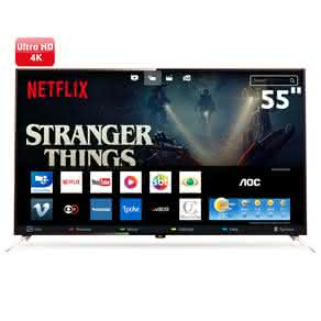 "Smart TV LED 55"" UHD 4K AOC LE55U7970 com Wi-Fi, Miracast, App Gallery, Botão Netflix, Digital Noise Reduction, HDMI e USB"