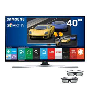 "Smart TV 3D LED 40"" Full HD Samsung 40J6400 com Connect Share Movie, Screen Mirroring, Quad Core, Wi-Fi e 2 Óculos 3D"