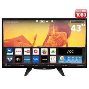 "Smart TV LED 43"" HD AOC LE43S5760 com Miracast, App Gallery, Multi-Sight,"