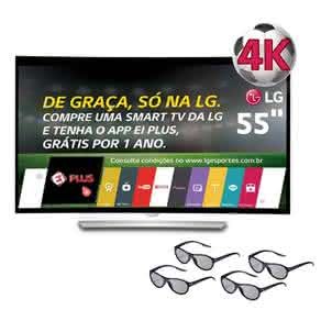 "Smart TV 3D OLED Curved 55"" Ultra HD 4K LG 55EG9200 com Sistema WebOS, , Controle Smart Magic e 4 Óculos 3D"