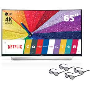 "Smart TV 3D LED Curved 65"" Ultra HD 4K LG 65UG8700 com Sistema webOS, Wi-Fi, Painel IPS, Entradas HDMI e USB, Controle Smart Magic e 4 Óculos 3D"