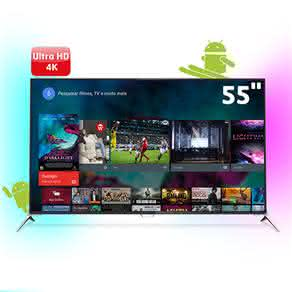 "Smart TV 3D LED 55"" Ultra HD 4K Philips 55PUG7100/78 com Ambilight, Android, Dual Core, Pixel Precise Ultra HD, 4 Entradas HDMI e 4 Óculos 3D"