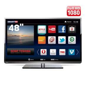 "Smart TV LED 48"" Full HD Toshiba 48L5400 com Conversor Digital Integrado,"