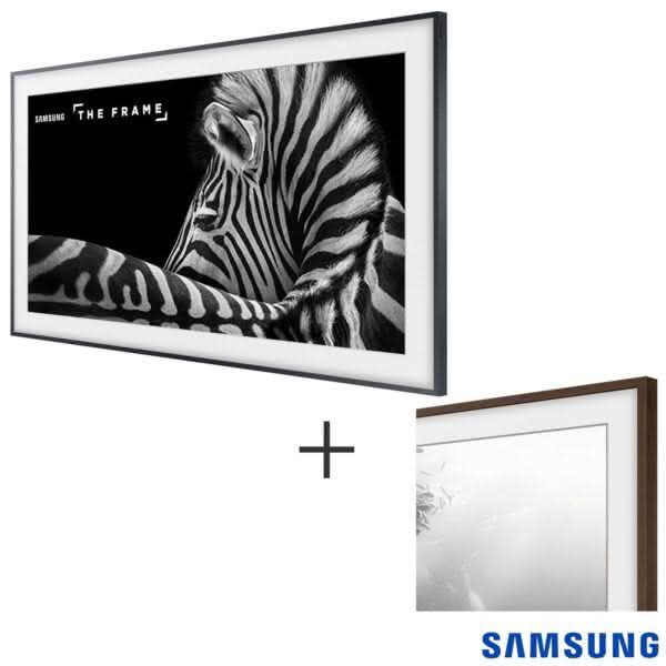 "Smart TV 4K UHD LS003 Samsung LED 55"" The Frame TV, UN55LS003AGXZD Moldura Madeira"