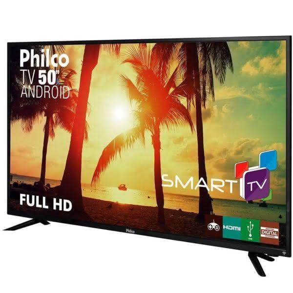 "Smart TV Android LED 50"" Philco PTV50A17DSGWA Full HD com Wi-Fi 2 USB 3 HDMI Midiacast e 60Hz"