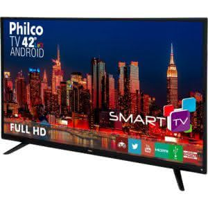 "Smart TV LED 42"" Philco PH42F10DSGWA Full HD com Conversor DigitalWi-Fi Sleep timer 60Hz Preta"