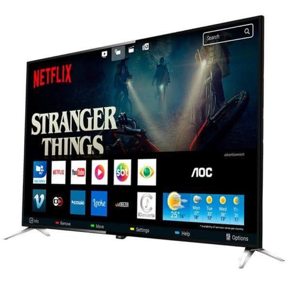 """Smart TV LED 50"""" AOC LE50U7970 4K Ultra HD com Wi-Fi 3 USB 4 HDMI Controle com Botão Netflix e 60Hz"""