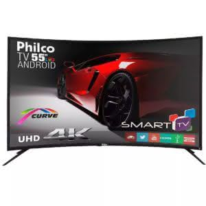 "Smart TV LED 55"" PH55A16DSGWA Curve 4K Ultra HD Ginga, 2 USB, 3 HDMI Philco - Bivolt"