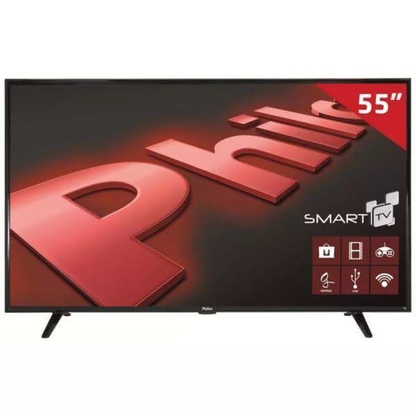 "Smart TV LED 55"" UHD Philco PH55E61DSGWA com Android, ApToide, GINGA, Som Surround, MidiaCast,"