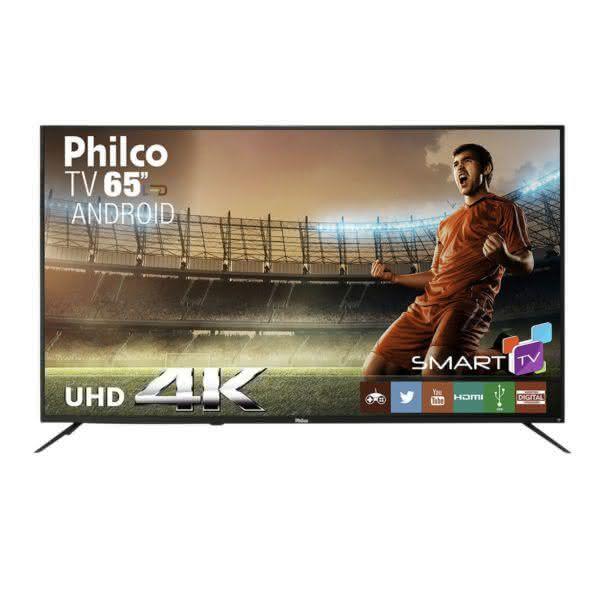 Smart TV LED 65 Philco PTV65A11DSGWA Ultra HD 4K com 3 HDMI e 2 USB Preta com Conversor Digital Integrado
