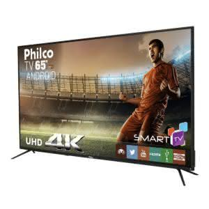 Smart TV LED 65 Philco PTV65A11DSGWA Ultra HD 4K com 3 HDMI e 2 USB Preta com Conversor Digital Integrado