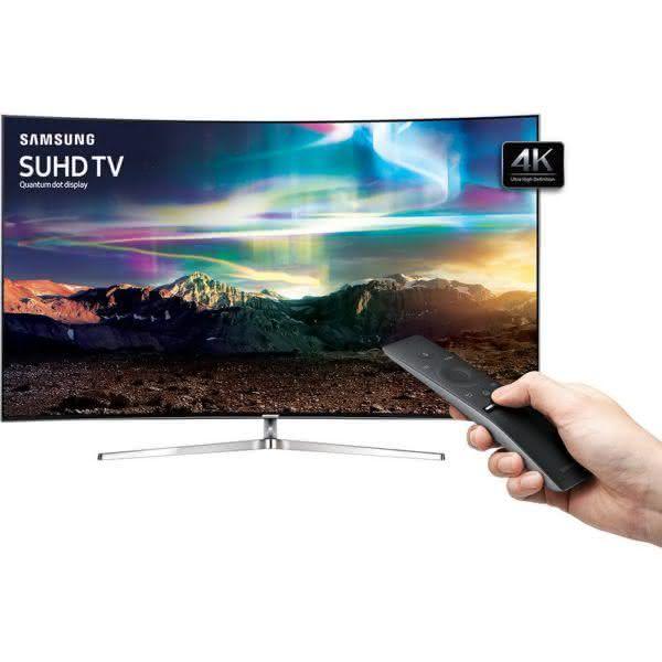 """Smart TV LED 78"""" Samsung Tela Curva 78KS9000 Ultra HD 4K com Conversor Digital 3 USB 4 HDMI Wi-Fi Quantum Dot HDR 1000 Tizen One Control Design 360° - Preta"""